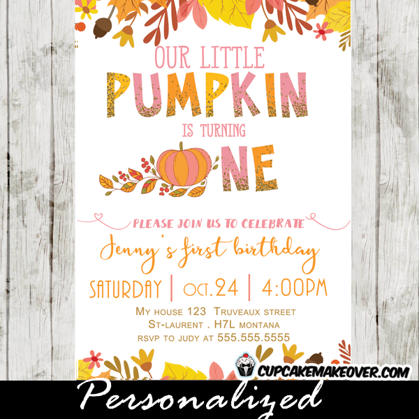 Girl Pumpkin First Birthday Invitations