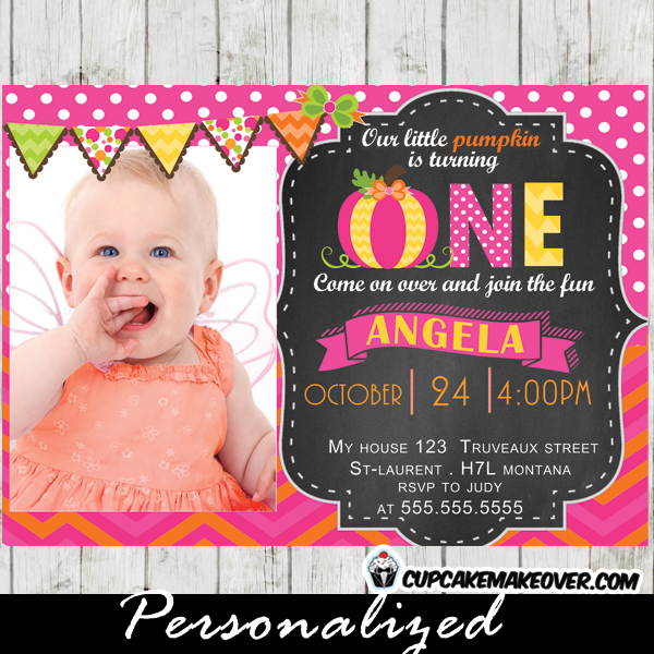 autumn theme pumpkin birthday photo invitation pink girl