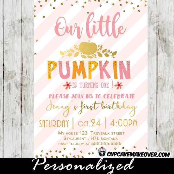 pumpkin 1st birthday invitations gold glitter pink