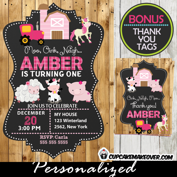 printable girl farm birthday party barnyard animals invitation barn wood pink tractor