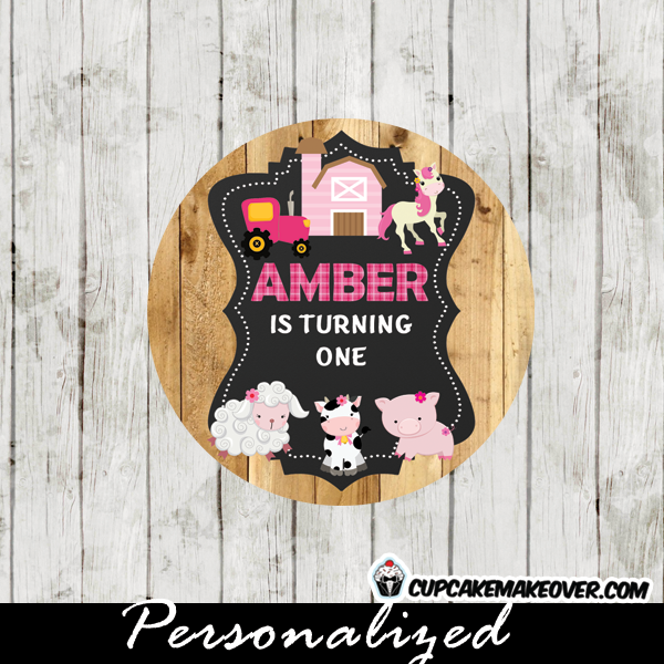 pink tractor Girl Farm Animal Cupcake Toppers barnyard favor tags