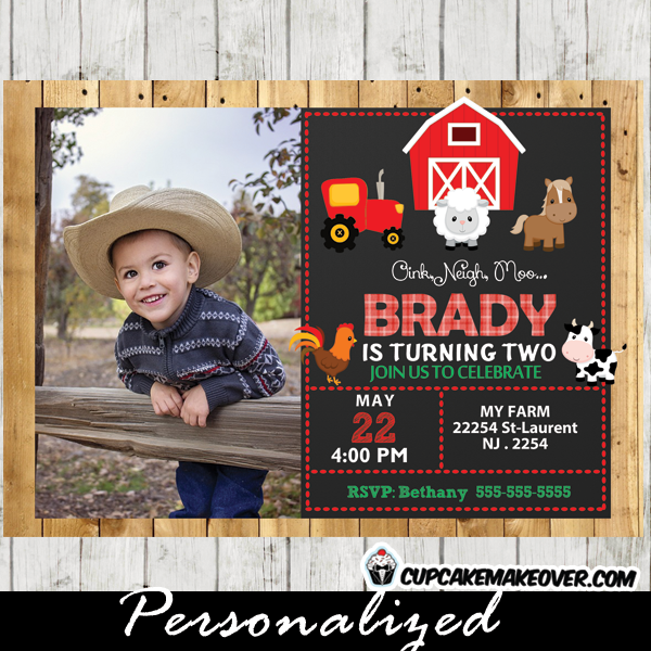 printable farm birthday barnyard animals photo invitation barn wood red tractor