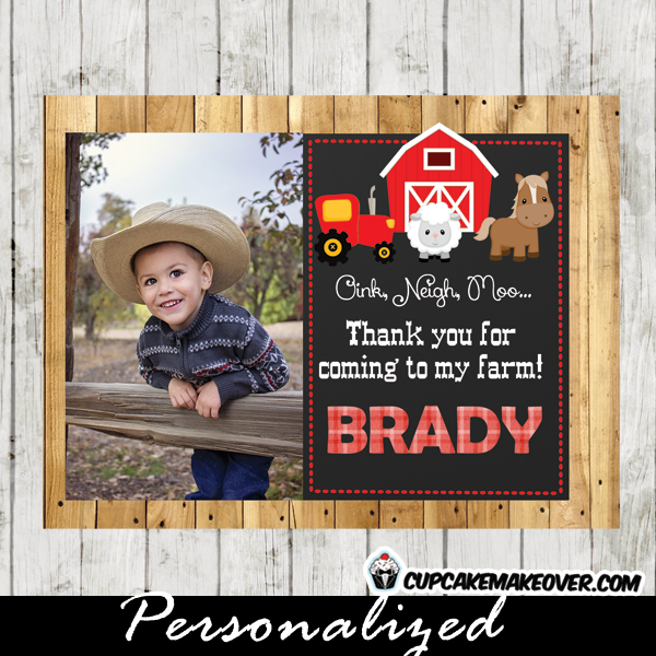 red tractor boy Farm Animal photo thank you tags