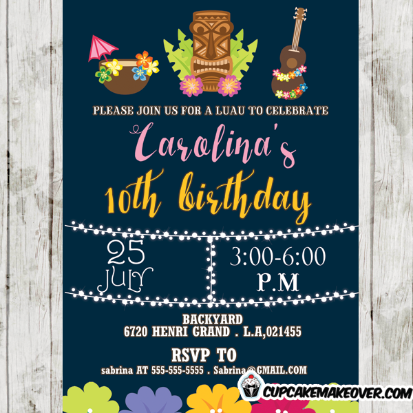 girls hawaiian luau birthday party invitations