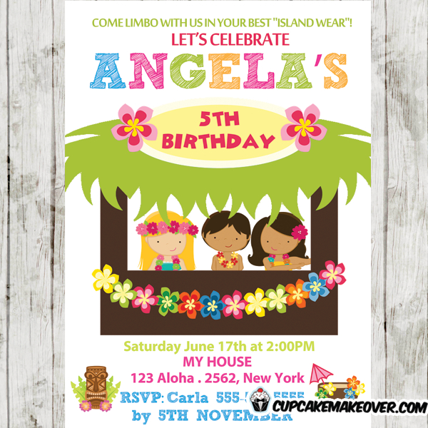 girls tiki bar luau birthday party invitations