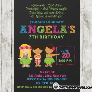 hawaii hula girls luau birthday party invitations