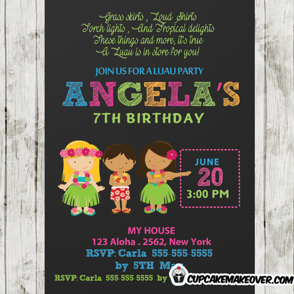 hawaii hula girls luau birthday party invitations
