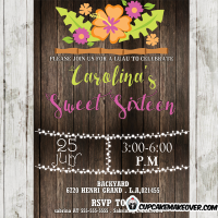 girls luau birthday party invitations