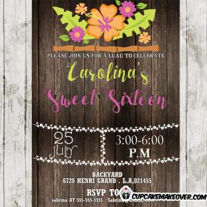girls luau birthday party invitations
