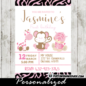 pink girl jungle theme party invitations