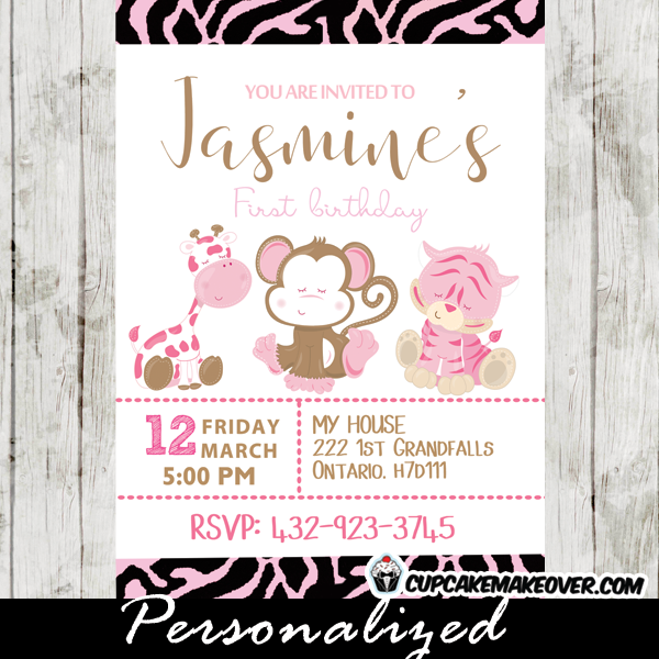 Pink Zebra Print Girls 1st Birthday Invitation: Safari Lion Birthday Party Invitation