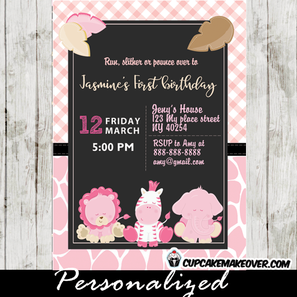 Pink Safari First Birthday Invitations Personalized Cupcakemakeover