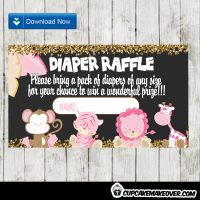 pink safari themed diaper raffle tickets baby girl