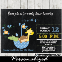blue umbrella baby shower invitations jungle animals