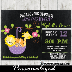 purple umbrella baby shower invitations jungle animals