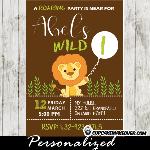 Safari Lion Birthday Party Invitation Personalized Cupcakemakeover