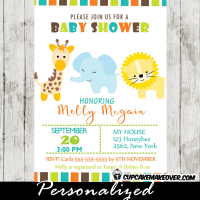 sweet safari boy baby shower invitations