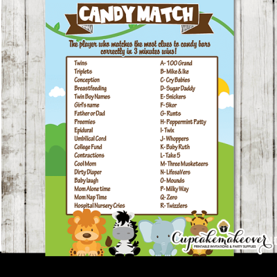 safari theme baby shower games