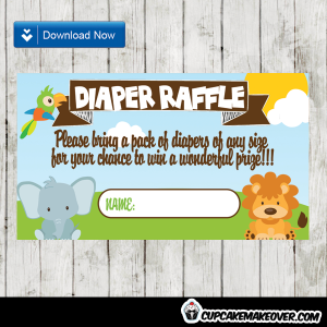 safari themed diaper raffle tickets baby boy