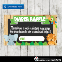 jungle themed diaper raffle tickets baby boy