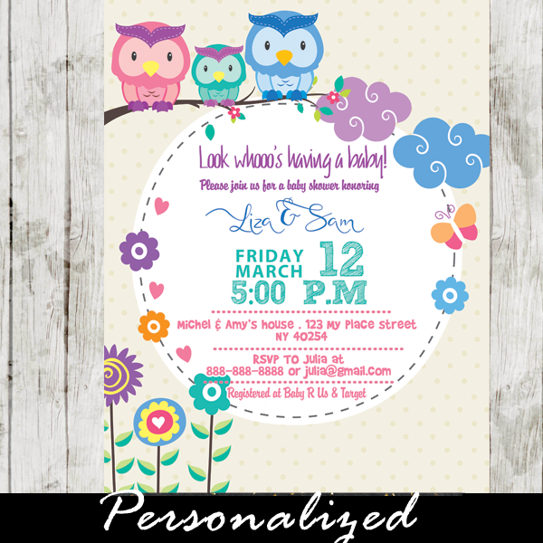 owl couples baby shower invitations