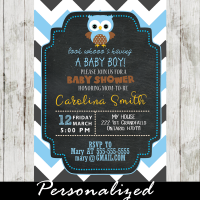 blue owl baby shower invitations