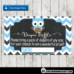 blue owl baby shower diaper raffle tickets