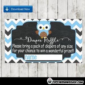 blue owl baby shower diaper raffle tickets
