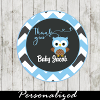 blue owl personalized baby shower favor tags
