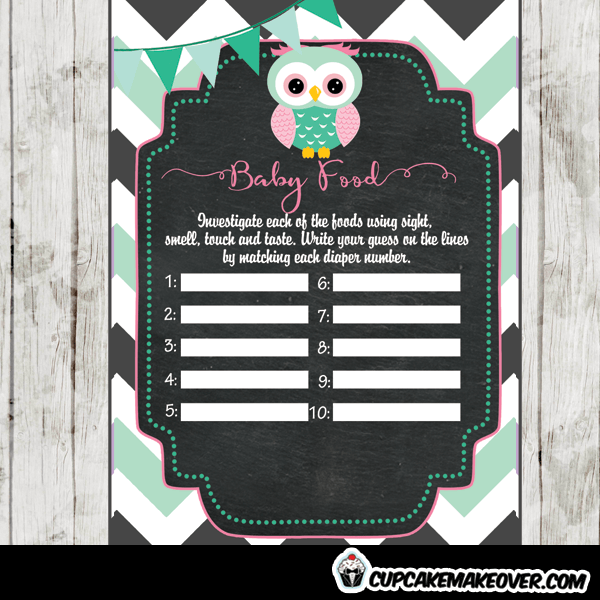 mint green pink owl baby shower games printable