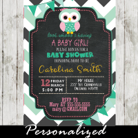 pink mint green owl themed baby shower invitations