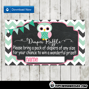 green mint owl baby shower diaper raffle tickets printable