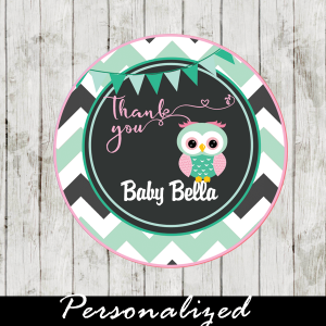 owl printable baby shower labels