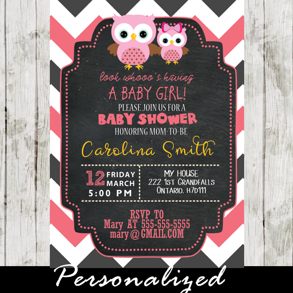 pink owl baby girl shower invitations