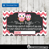 pink owl baby shower diaper raffle tickets