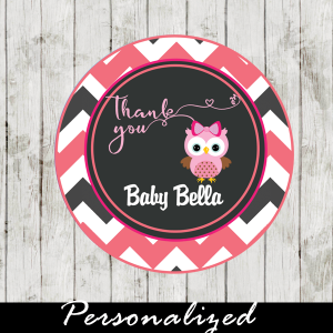 pink owl baby shower tags for favors