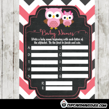 pink owl baby shower games printable