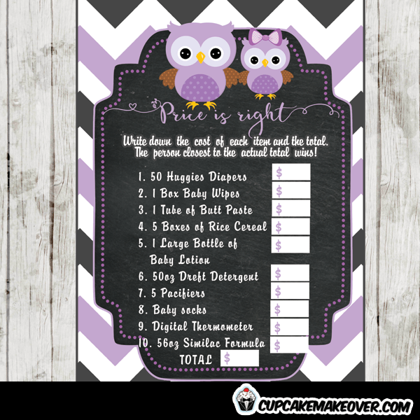 purple owl baby shower games printable