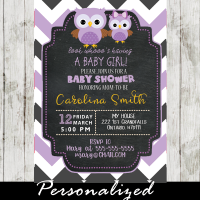 purple owl baby girl shower invitations