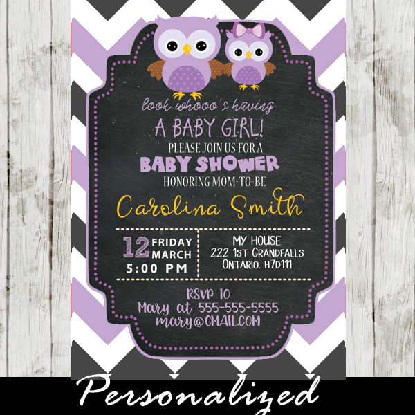 Gray and Purple Chevron Owl Baby Shower Invitations Personalized