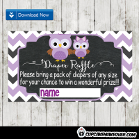 purple owl baby shower diaper raffle tickets printable