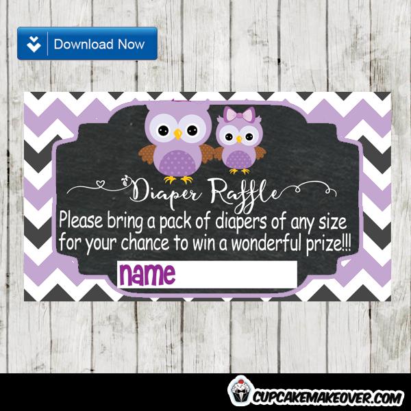 purple owl baby shower diaper raffle tickets printable