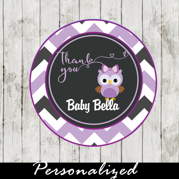 purple owl thank you tags for baby shower
