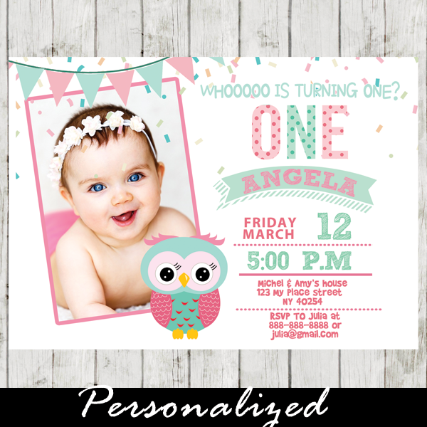 1st birthday owl invitations photo invite girl