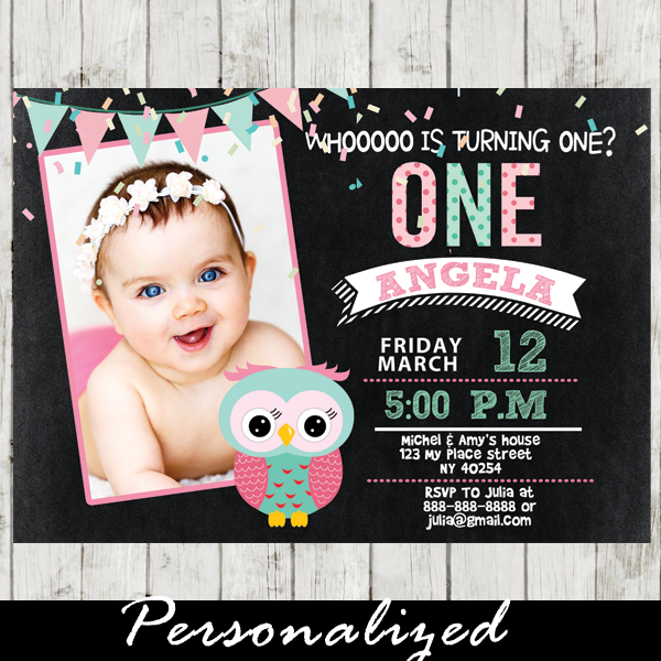 Brand-new Pink and Mint Green Girl First Birthday Owl Photo Invitation  LM64