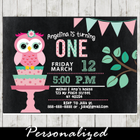 owl first birthday invitations girl