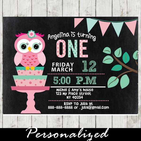 Excellent Pink and Mint Green Owl Birthday Party Invitations, Personalized  SR98