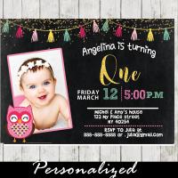 girl custom photo invites pink owl birthday party
