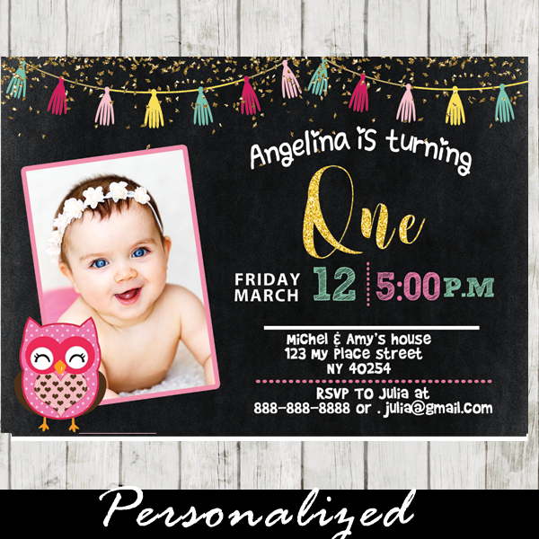 Girl Custom Photo Invites Pink Owl Birthday Party