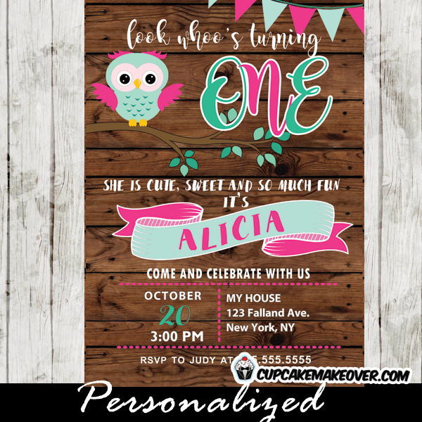 owl invitations for birthday girl